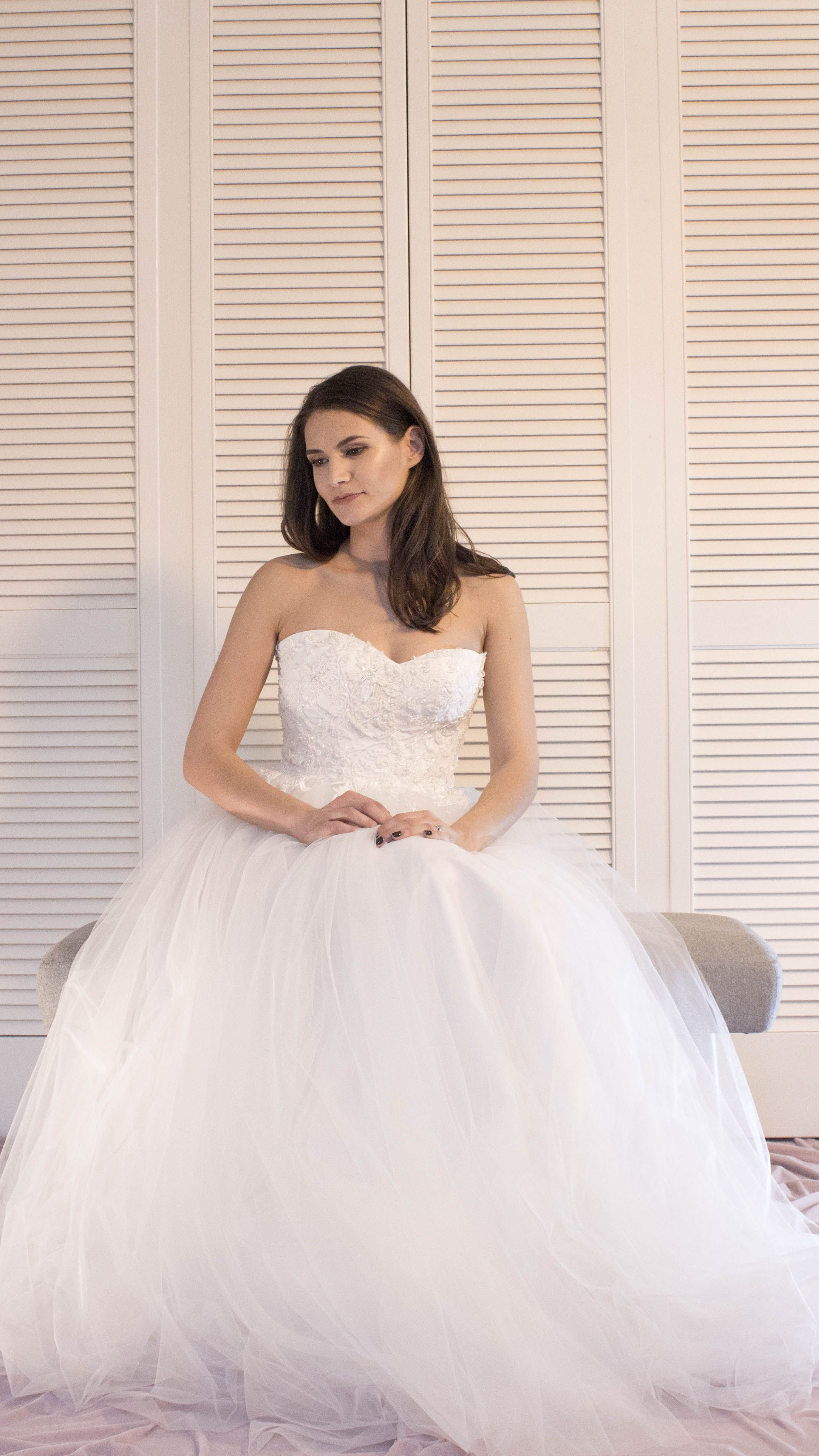 soft tulle wedding dress with a heart neckline corset