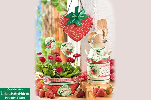 Deko Im Erdbeeren Look Serviettentechnik Erdbeeren Strawberry