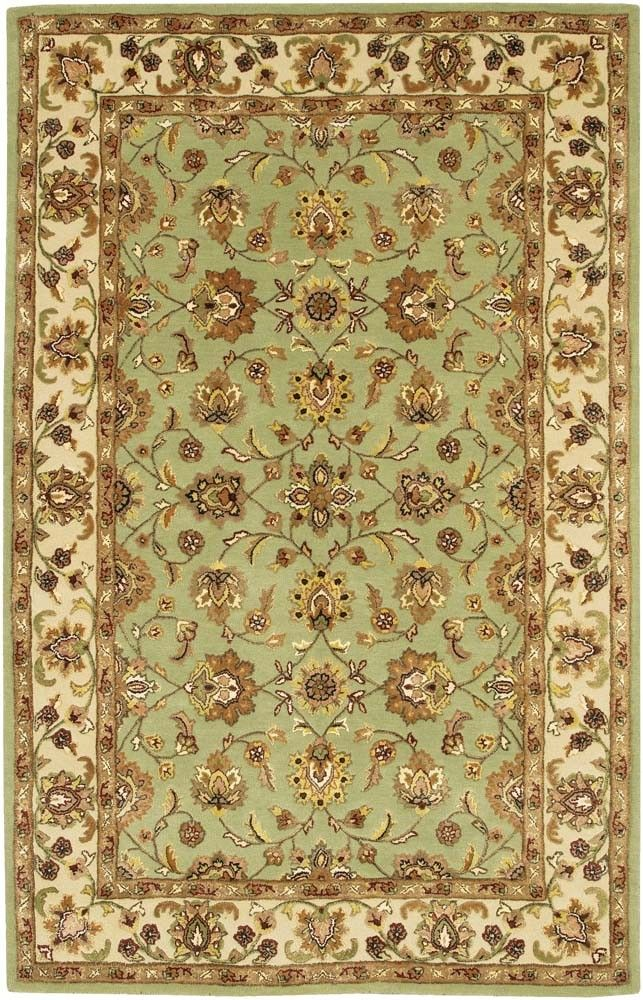 Mint Green Oriental Rug With Brown Tan Walls Gold Cream Wall Papered