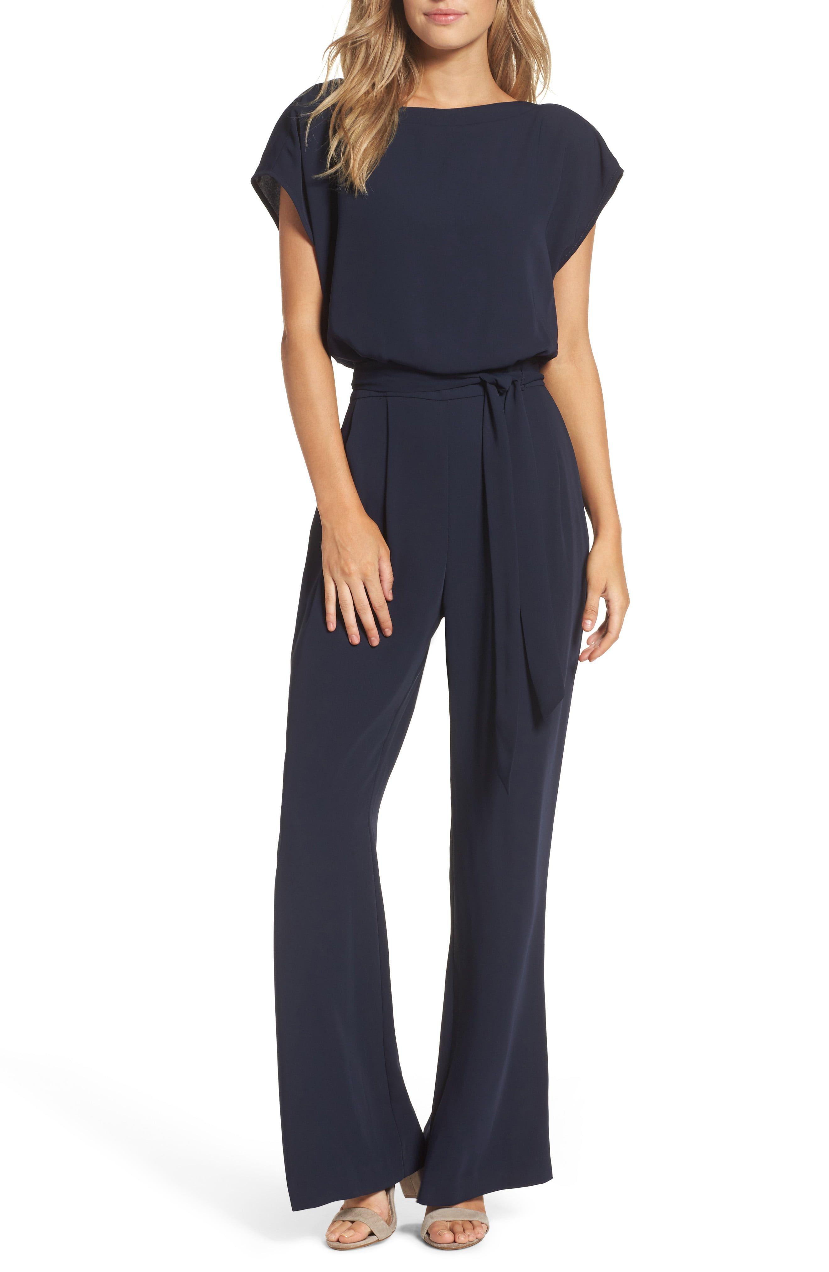 1ddf58f6602f Women's Eliza J Cap Sleeve Wide Leg Jumpsuit, Size 2 - Blue in 2019 ...