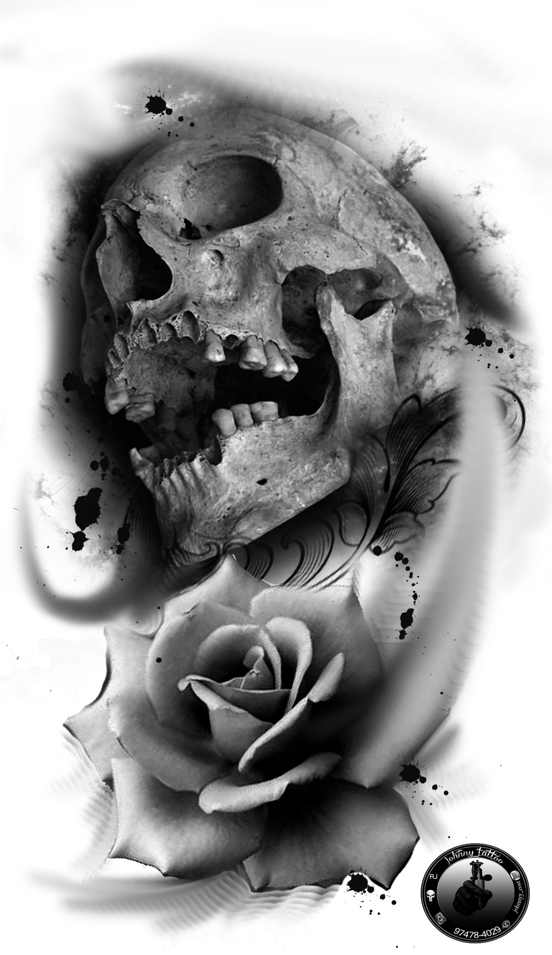 Desenhos Tattoo Caveira Preto Cinza Skull Drawings