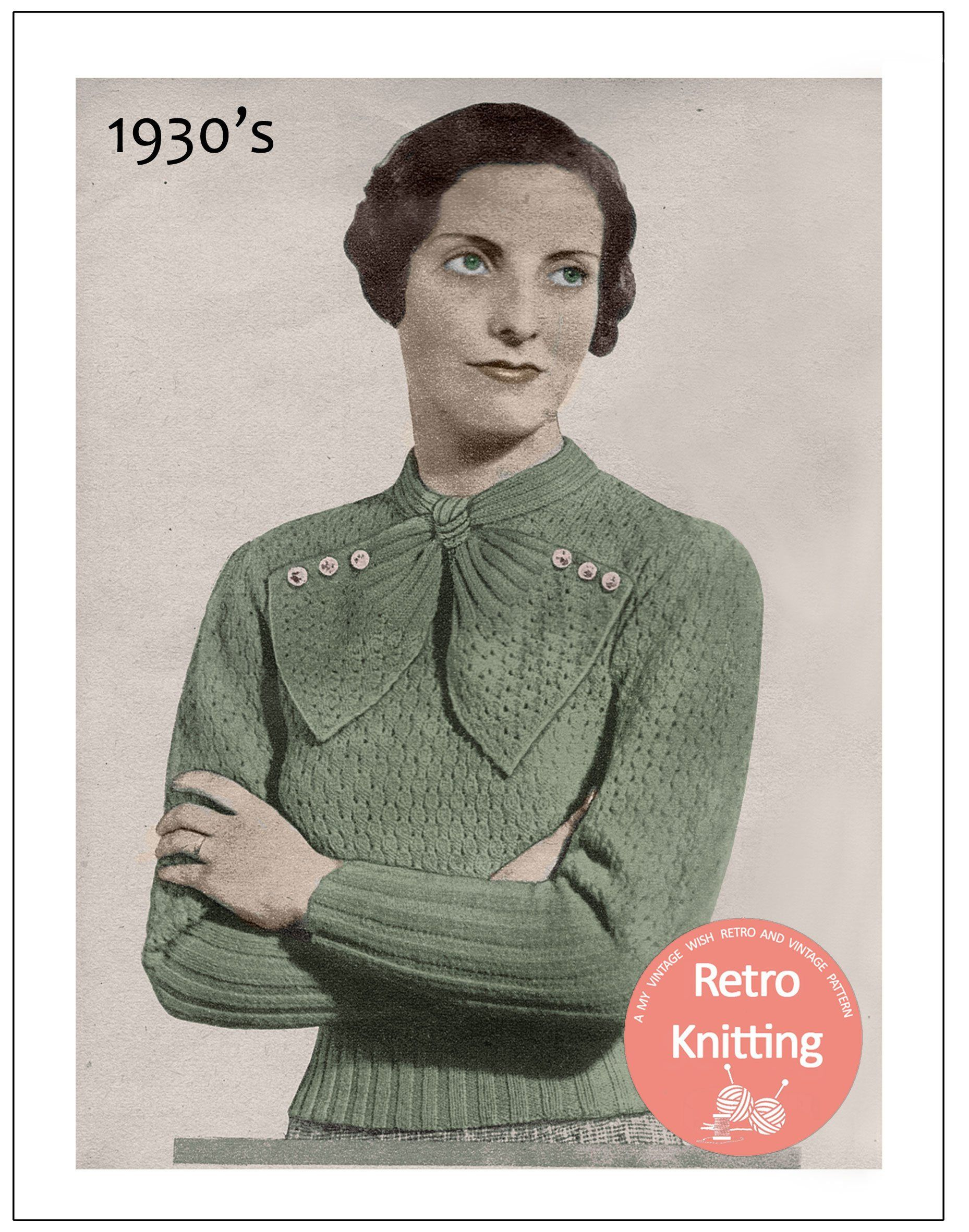 c0f801167 1930 s Sweater with Large Neck Bow Knitting Pattern