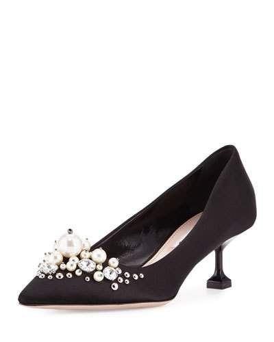 Fashion Style Women Embellished satin pumps Nero