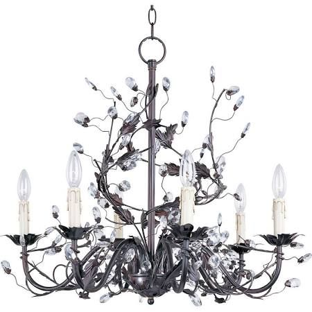 6 Light Candle Chandelier With Leaves Crystals Vines In Oil