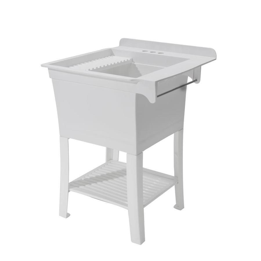 CASHEL 25.375 x 25.75 White Freestanding Polypropylene Laundry sink ...