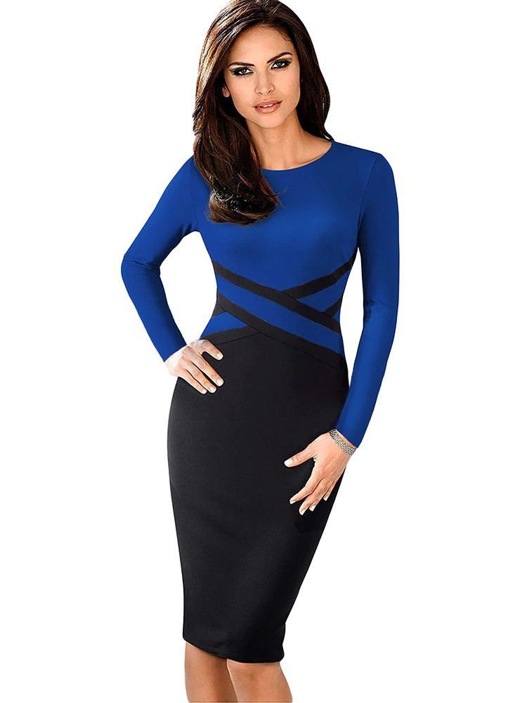 d9b3efba2822 2019 的 Contrast Waist Long Sleeve Sheath Dress 主题 | Dress ...