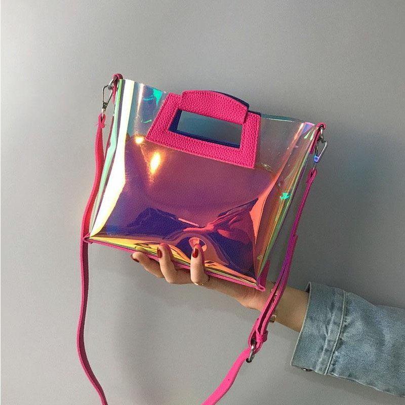 ebecd3779ad Blue Crossbody Clear Bag Fashion Holographic Handbags#clearpurse#Holographic  bag#women'sfashion#handbags#crossbodybags#
