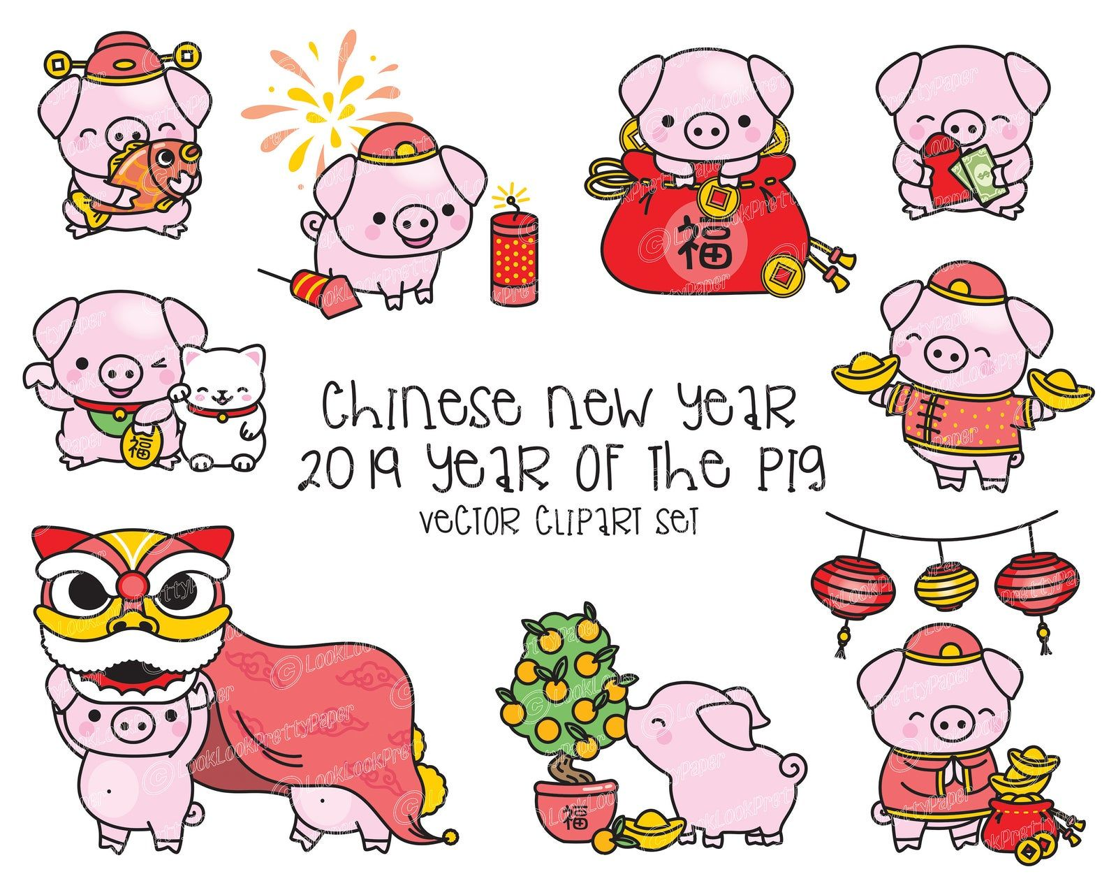 Premium Vector Clipart Kawaii Chinese New Year Cute Year