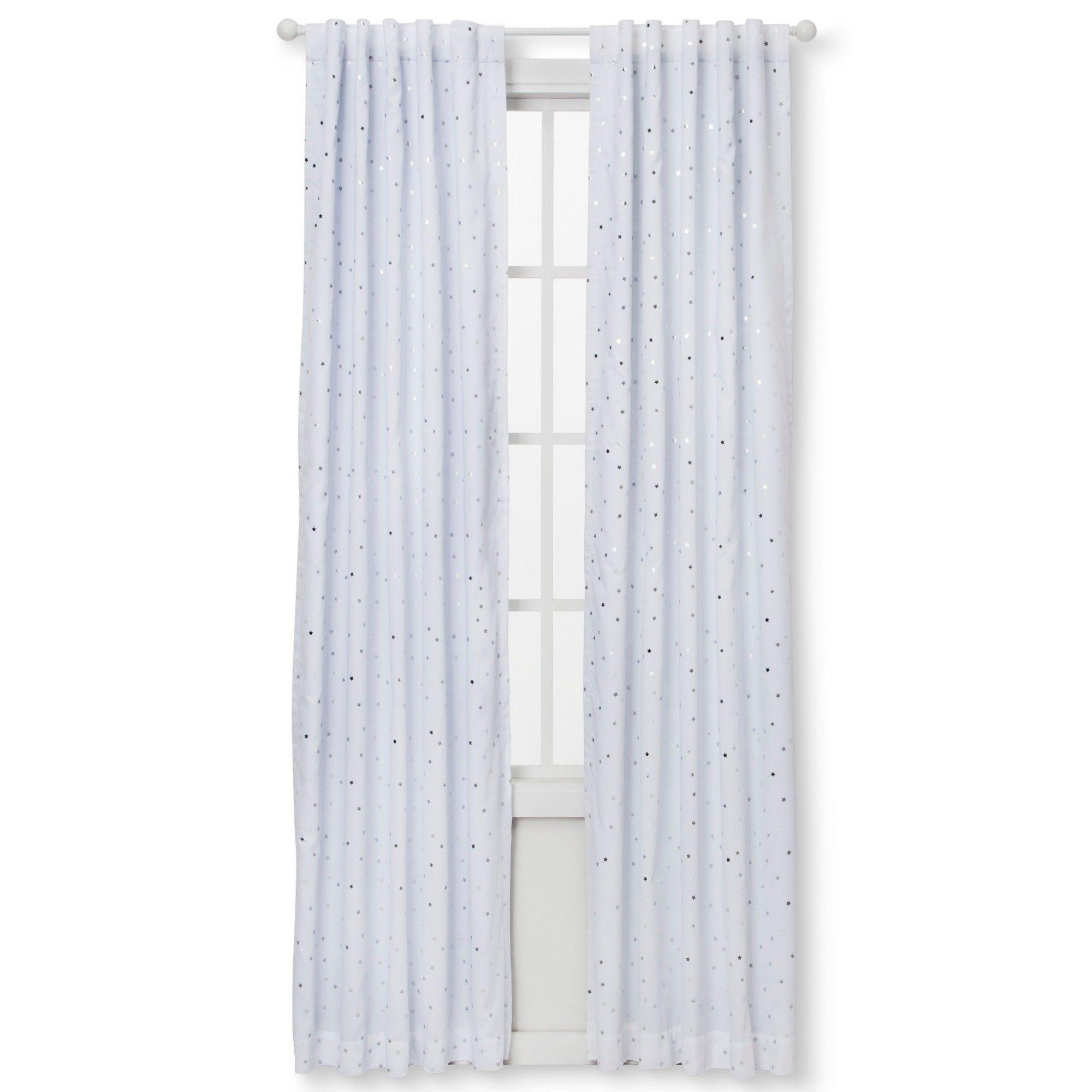 Blackout Curtain Panel Foil Stars 84 Cloud Island Silver