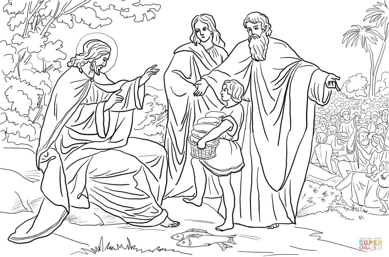 Jesus Feeds 5000 People Super Coloring People Coloring Pages