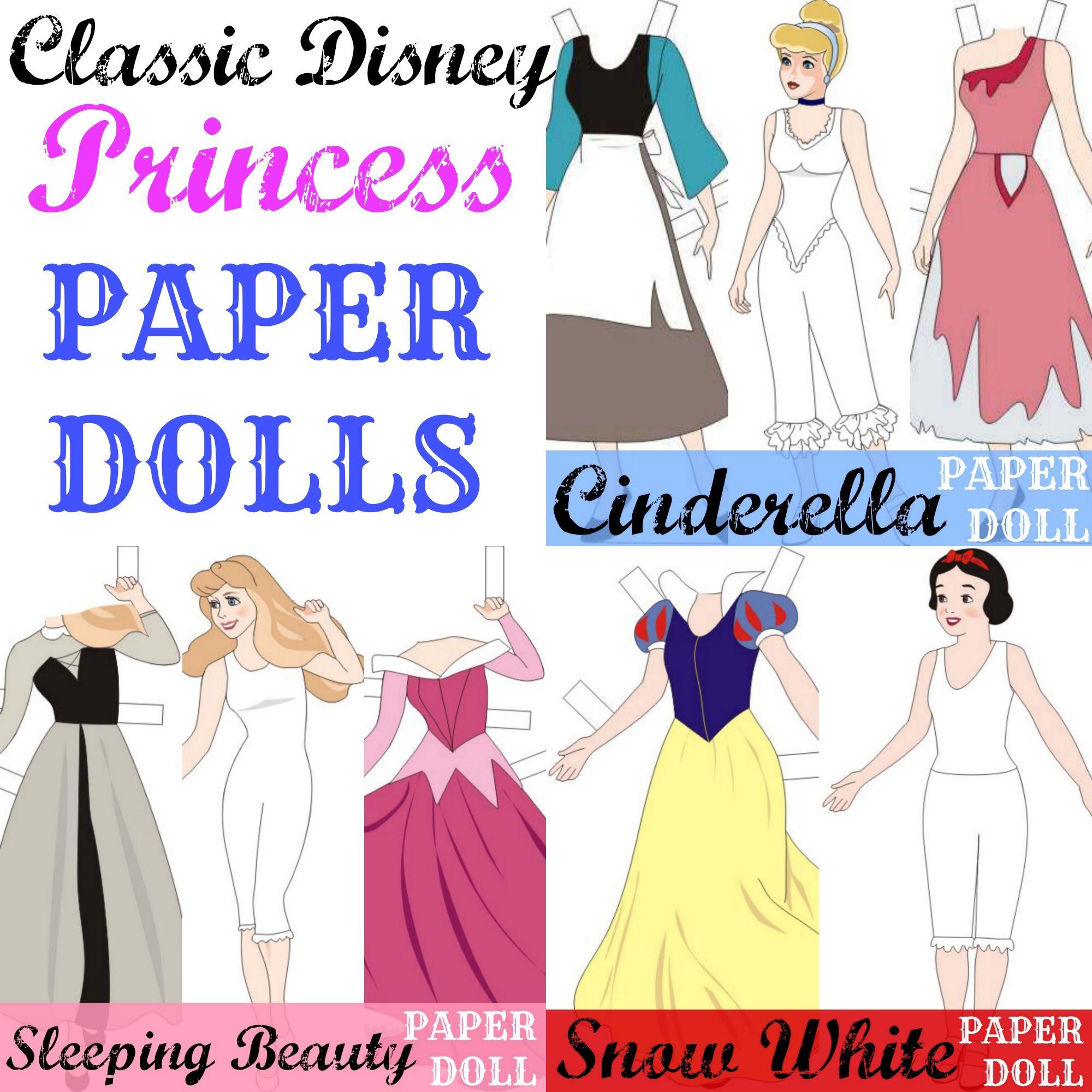 classic disney princess paper dolls free printables