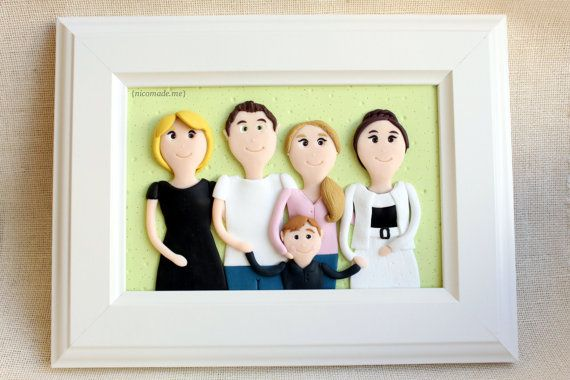 Custom portrait - family portrait - polymer clay family - cartoon family - polymer clay portrait - personalized family portrait - from picture to portrait - family sculpture { by NicomadeMe on Etsy }