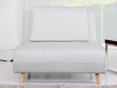Banquette convertible simili 1 place pieds bois style futon