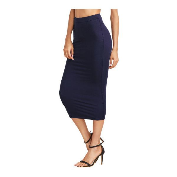 d9885754cba6 SheIn(sheinside) Navy High Waist Sheath Skirt ($13) ❤ liked on Polyvore  featuring skirts, navy, navy blue pencil skirt, navy pencil skirt,  high-waisted ...