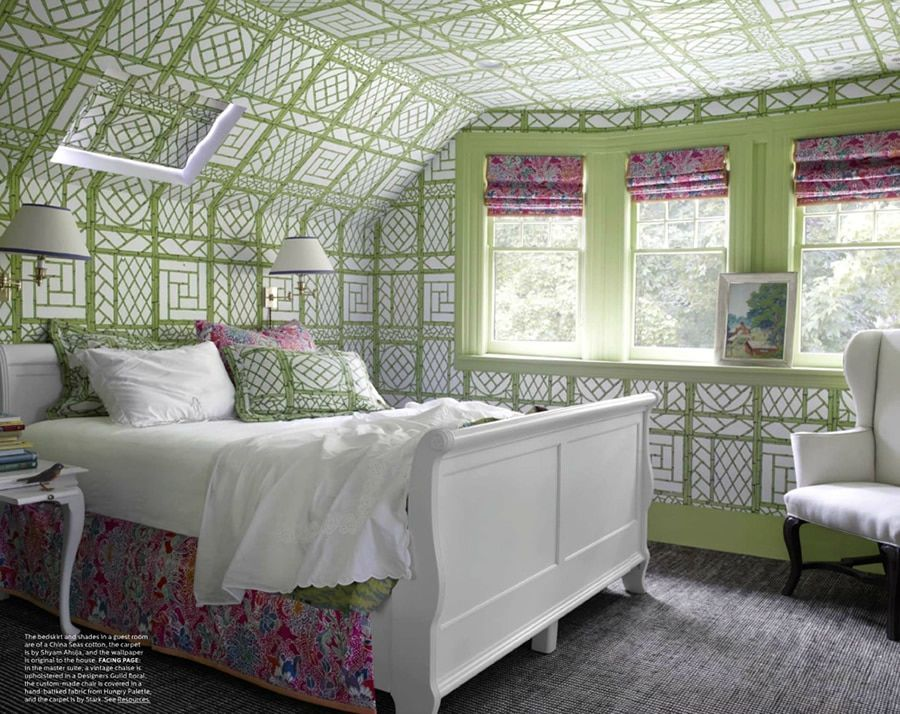Green Home Accessories Guest Rooms Quadrille Wallpaper