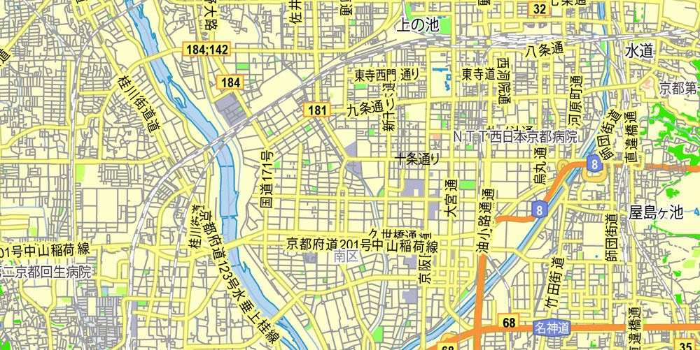 PDF Map Kyoto Japan Printable Exact Vector Map GView Level - Japan map download pdf