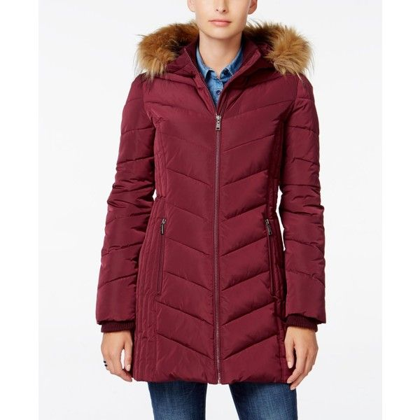 Tommy Hilfiger Faux-Fur-Trim Hooded Puffer Coat ( 110) ❤ liked on Polyvore  featuring outerwear 21fb4248fa