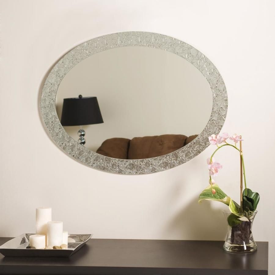 Decor Wonderland 23 6 In Oval Frameless Bathroom Mirror Lowes Com Mirror Wall Bedroom Mirror Wall Living Room Oval Wall Mirror [ 900 x 900 Pixel ]