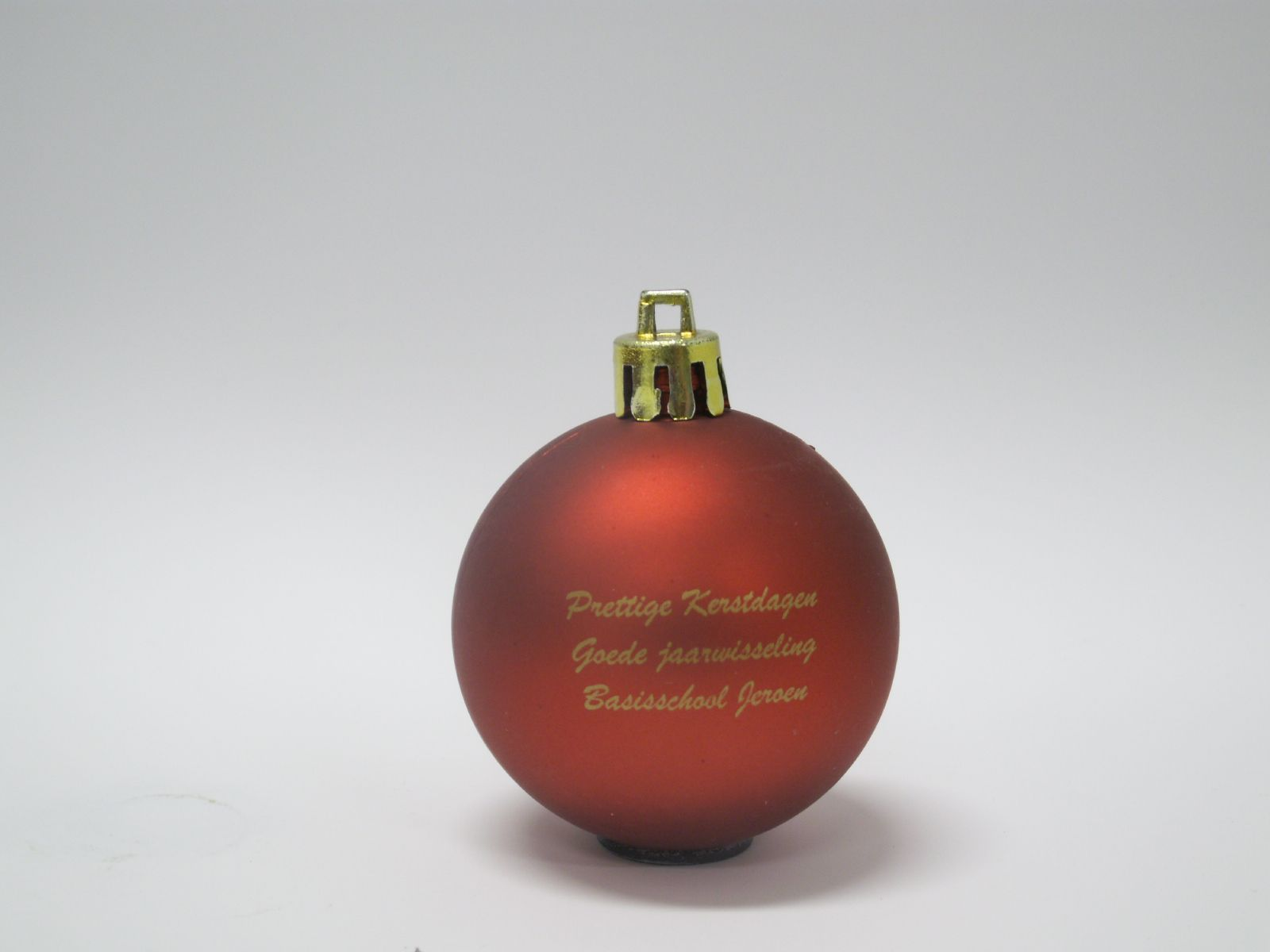 Kerstbal bedrukt met kerstwens Basisschool Jeroen 1 kleur, tampondruk