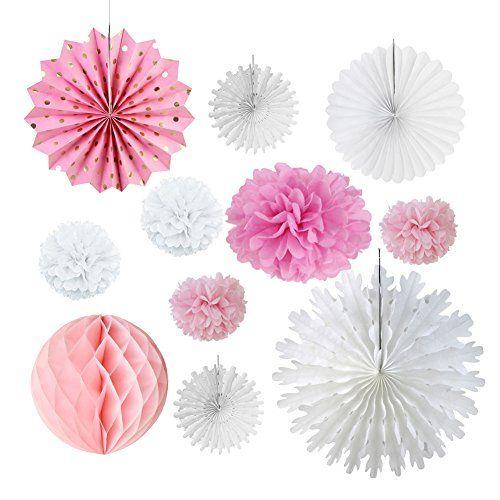 11 pcs Decoration Rose Blanc Pompon en Papier Rosace pour