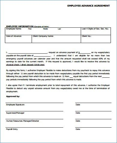 cash advance agreement form cash advance form template and payroll