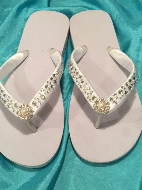 b85e096a29322 Bridal Flip Flops Wedges.Wedding Flip Flops.White Flip