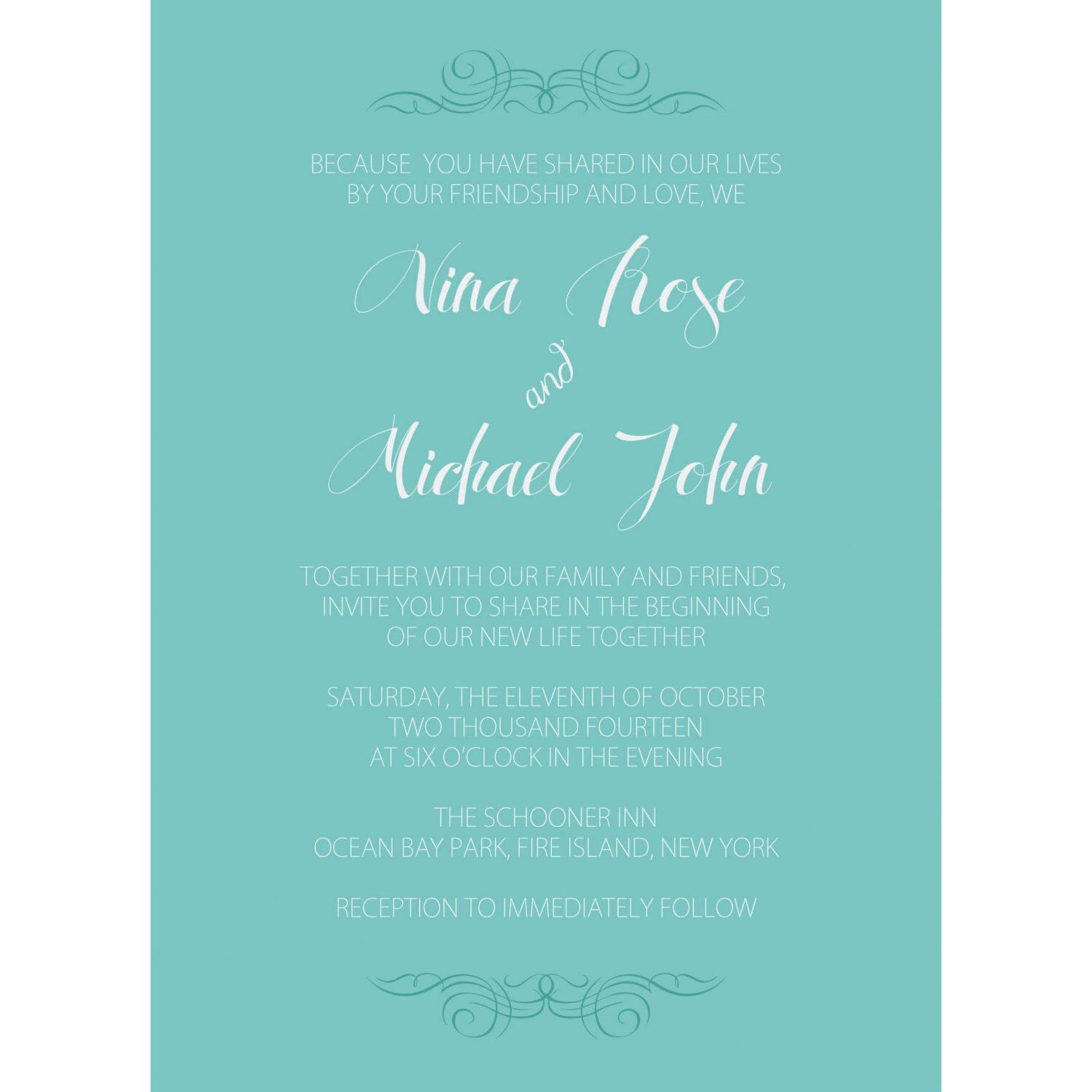 Simple Chic Modern Beach Wedding Invitation with RSVP and details ...