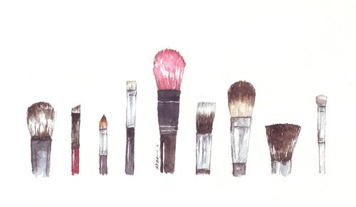Paintbrushes Watercolor Artsy Makeup Illustration Makeup Art