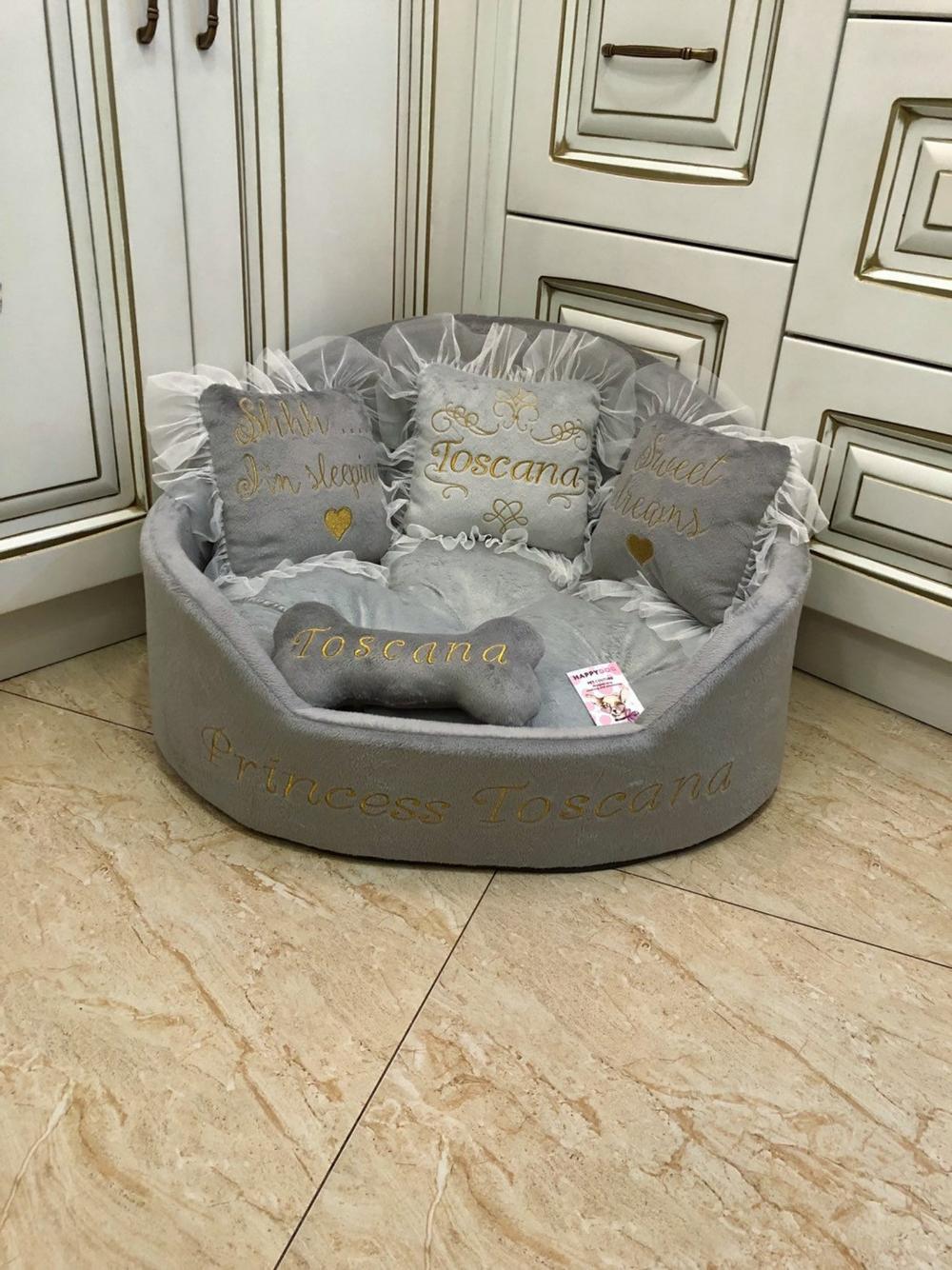 Gray Tufted Dog Bed Luxury Dog Bed Grey Bed For Dog Designer Pet