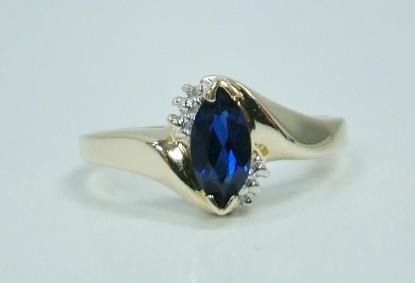 Solid 10k Yellow Gold Created Blue Sapphire Ring Diamond Marquise 2 1g Size 7 Sr Solitairewithacc Sapphire Jewelry Blue Sapphire Rings Royal Engagement Rings