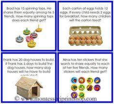 Division Word Problems Level 1 - Printable Montessori Materials ...
