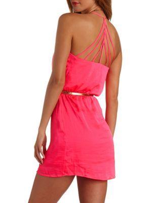 strappy back belted dress