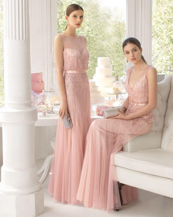 Trajes de noche estilo vintage en tul y predería en color rosa palo ...