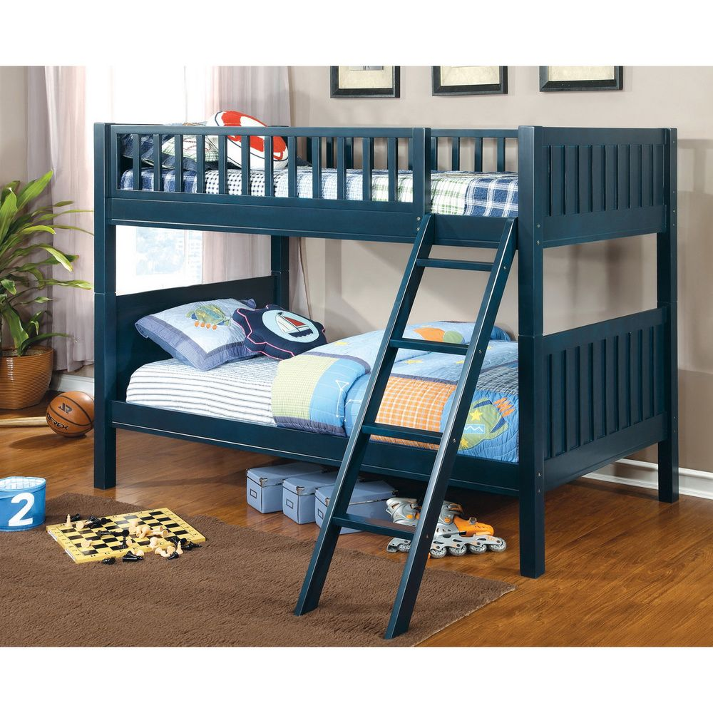 furniture of america jordin twin over twin blue bunk bed blue