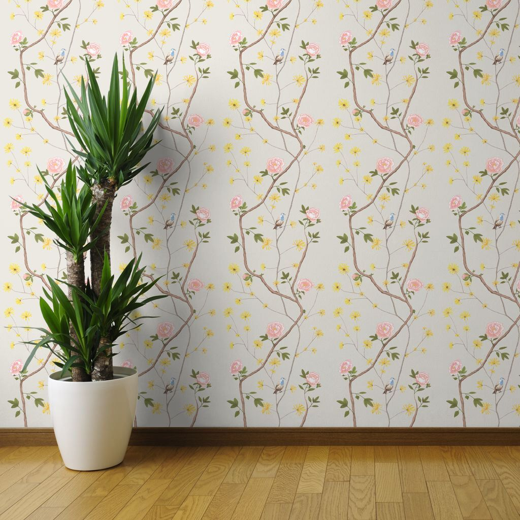 Chinoiserie Wallpaper Jenny Peony on Mist by Domesticate