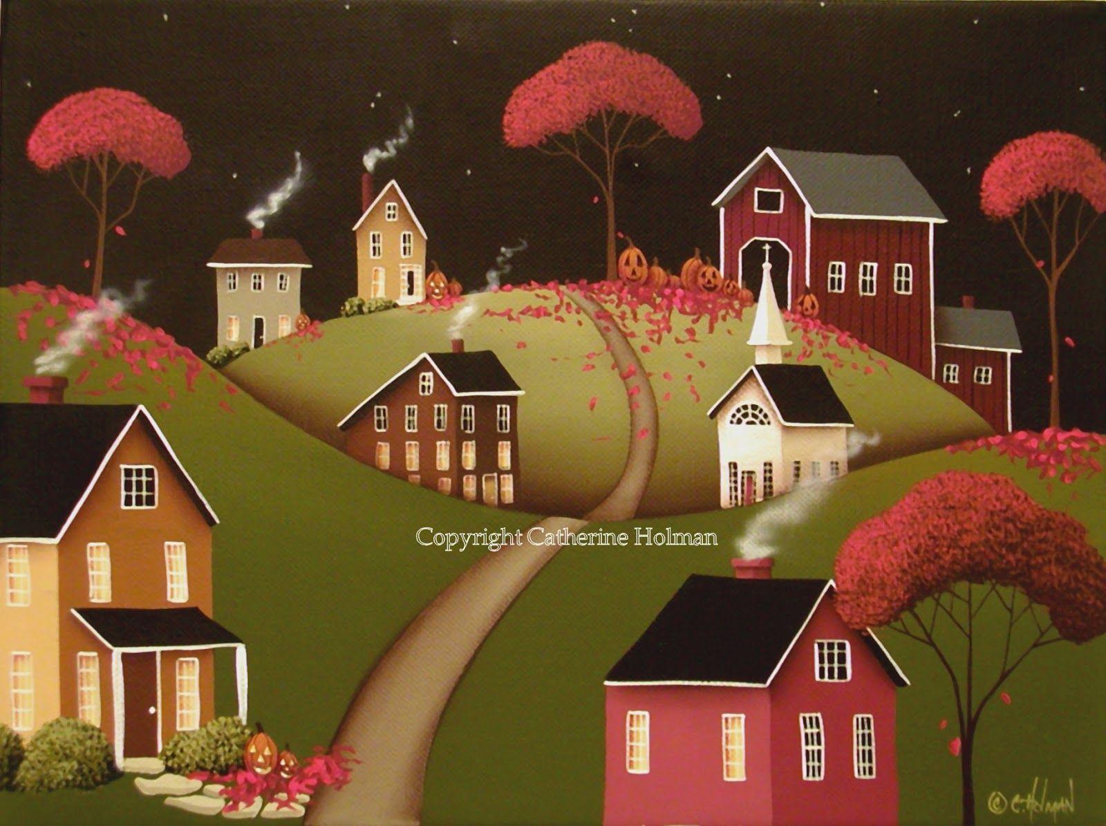 Wickford Village Halloween Ll Original Folk Art Painting Americana Art Paintings Halloween Folk Art Folk Art