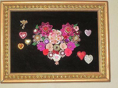 Jewelry Valentines Day Flowers Heart Framed Art Handmade