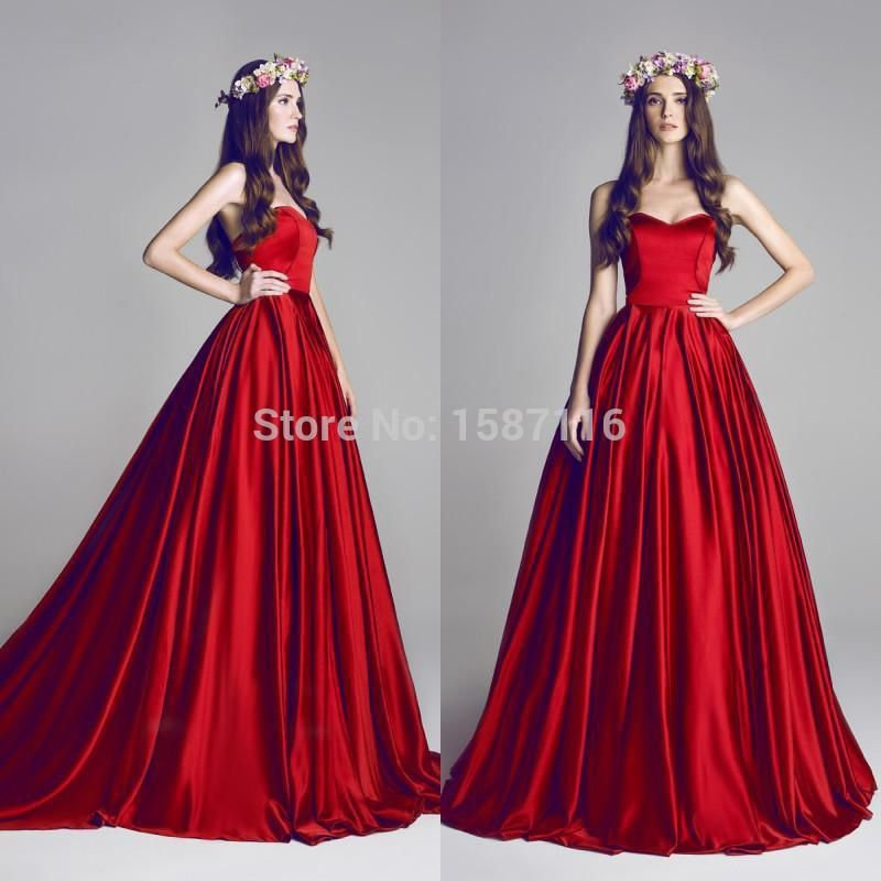 Hamda Al Fahim 2015 Red Ball Gown Sweetheart Floor Length Wine Red ...