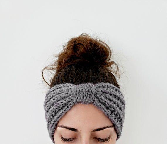 sports headband black turban knit earwarmer Black knit headband in ribbed pattern soft wool ear warmer top knot headband wide hairband