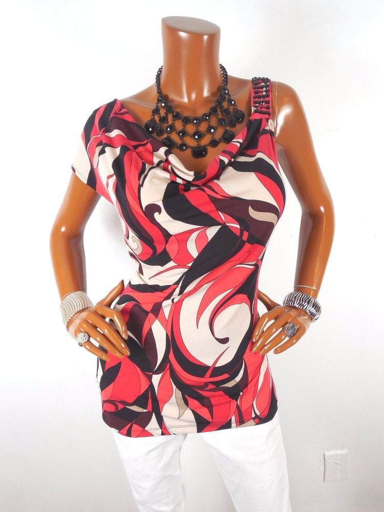 6a0420beb0e NEW YORK   CO Womens Top XL SEXY Summer Blouse Casual Shirt Gem Strap  Draped