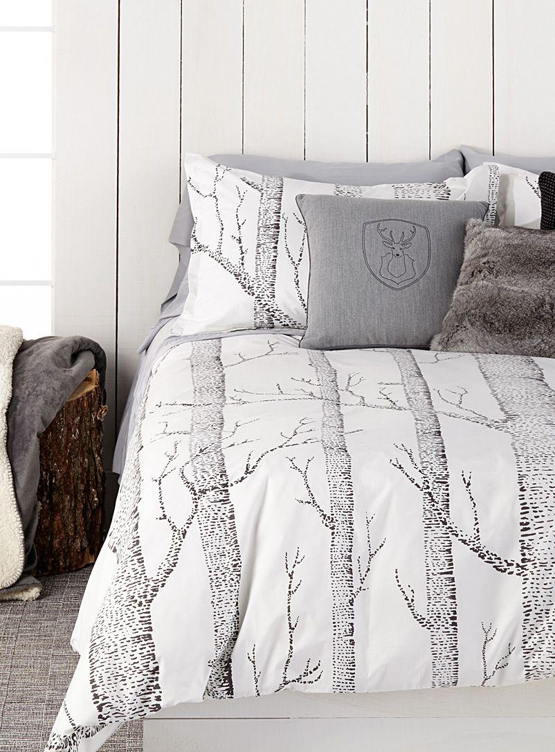 housse de couette arbres blanc et gris cosy style en 2018 pinterest. Black Bedroom Furniture Sets. Home Design Ideas