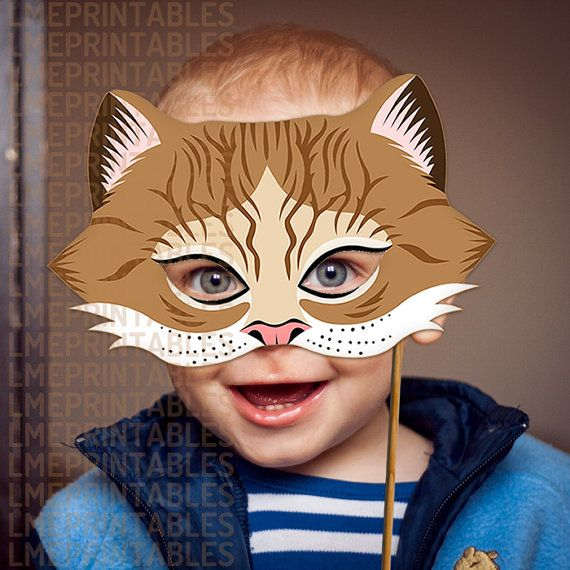 Cat Mask Brown Tabby Printable DIY Masks Animal Children