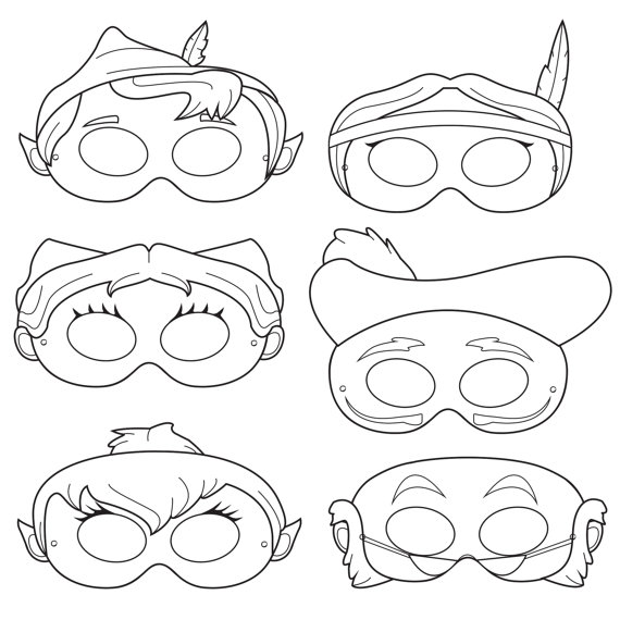 Peter Pan Printable Coloring Mask, peter pan, captain hook