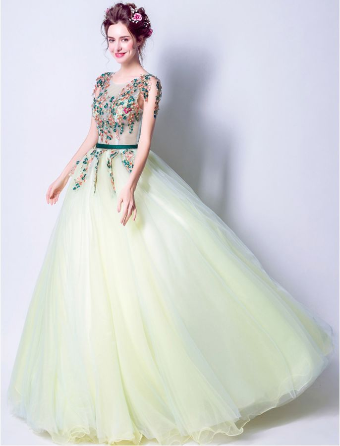 1950s Vintage Style Perfect In Green Floral Evening Ball Gown School