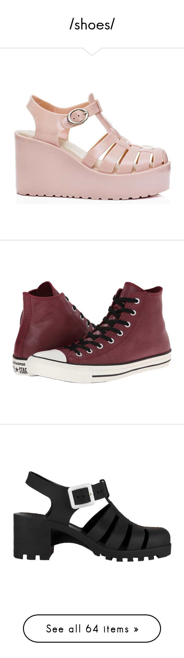"""""""/shoes/"""" by simplykristin on Polyvore featuring shoes, flatform shoes, jelly wedge shoes, famous footwear, buckle shoes, platform wedge shoes, sneakers, converse, burgundy and print shoes"""