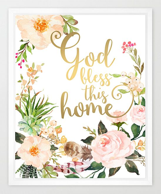 Eleville God Bless This Home Watercolor Print | zulily