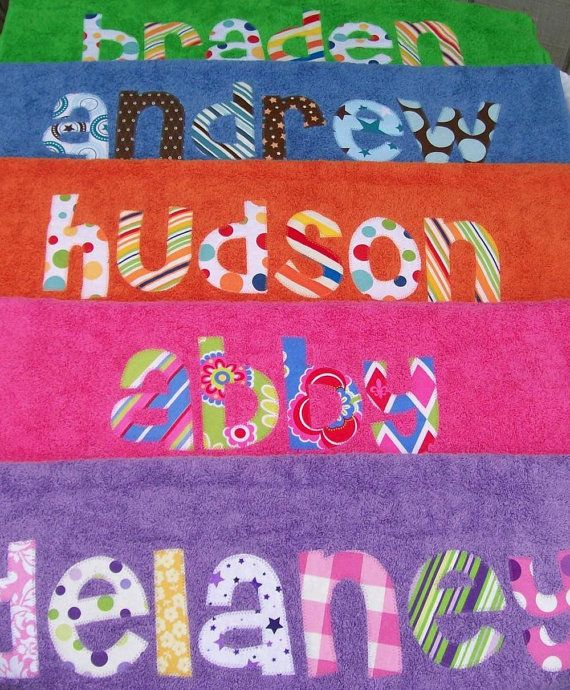 Personalized Towel Appliqued Name Choose Fabric And Towel