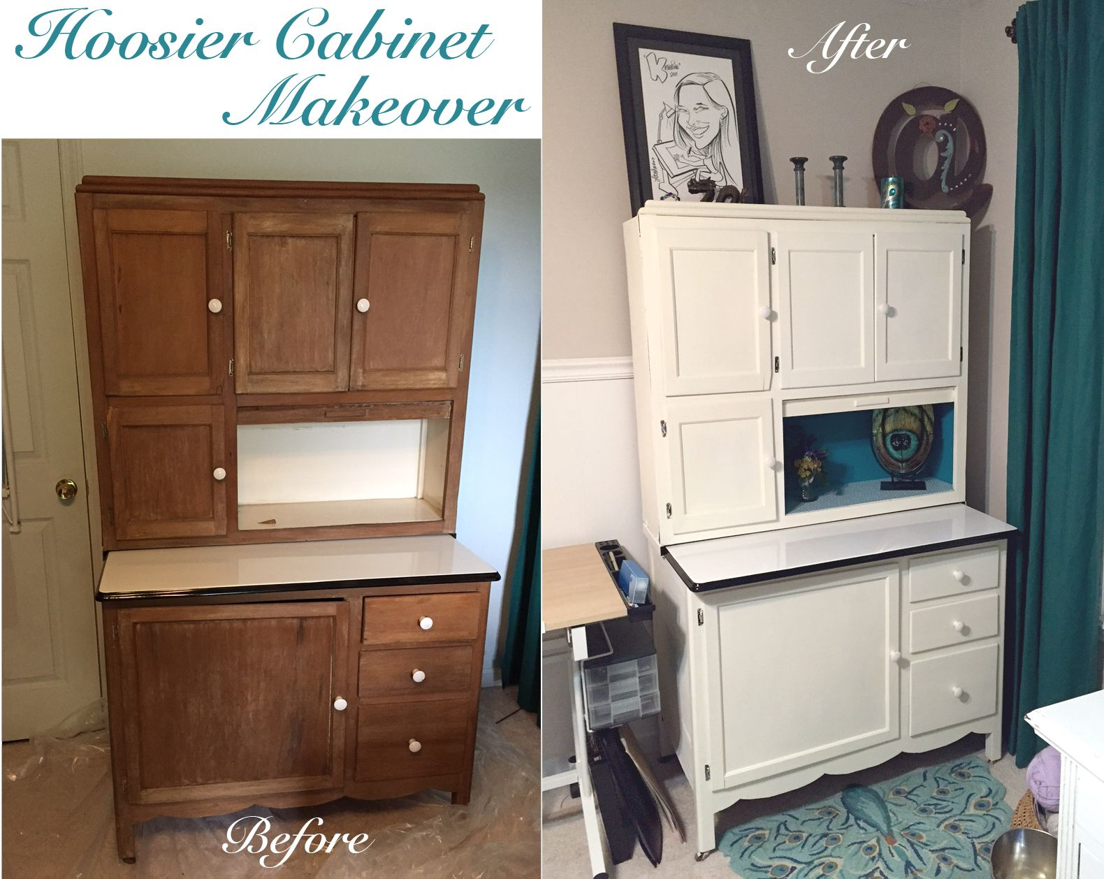 The Crafty Peacock: Hoosier Cabinet Makeover | Completed DIY ...