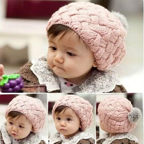 Toddler Baby Girls Boys Hats Winter Crochet Hat Fur Wool Knit Beanie Warm Cap