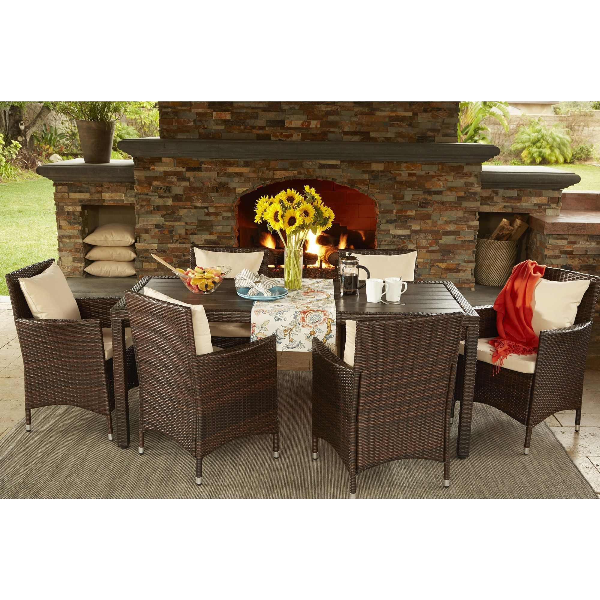Havenside Home Stillwater Brown Indoor Outdoor 7 Piece Rectangle